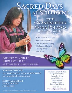 Flyer for Sacred Days at Stillpoint